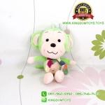 ตุ๊กตา ลิงสีเขียวอ่อนผูกผ้าพันคอ 25 CM
