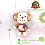 ตุ๊กตา ลิงสีน้ำตาลอ่อนผูกผ้าพันคอ 25 CM