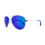 Knockaround Mile Highs Sunglasses - Silver / Polarized Moonshine