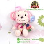 ตุ๊กตา ลิงสีชมพูอ่อนผูกผ้าพันคอ 30 CM [Little CuCu]