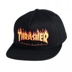 Thrasher Flame Logo Snapback Hat - Black