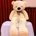 ตุ๊กตาหมีลืมตา 1 เมตร สีครีม ตุ๊กตาหมีตัวใหญ่ ตุ๊กตาตัวอ้วน