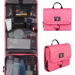 กระเป๋าใส่อุปกรณ์ห้องน้ำ คุณภาพสูง ใส่อุปกรณ์เครื่องสำอาง แขวนได้ สำหรับเดินทาง ท่องเที่ยว (สีชมพู)