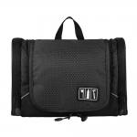 กระเป๋าใส่อุปกรณ์ห้องน้ำ ใส่อุปกรณ์เครื่องสำอาง ใส่ขวดได้ มีกระเป๋าใส่ของเพิ่มซ้าย-ขวา แขวนได้ สำหรับเดินทาง ท่องเที่ยว (สีดำ)