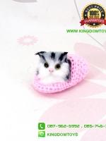 ตุ๊กตาแมวเหมือนจริงในรองเท้าไหมพรม สีชมพู 10 CM