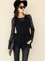 [รหัส B44065] เสื้อผ้าแฟชั่นพร้อมส่ง เสื้อแขนยาวแฟชั่น ผ้า Cotton Spandax + ลูกไม้ แบบสวม สีดำ