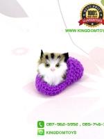 ตุ๊กตาแมวเหมือนจริงในรองเท้าไหมพรม สีม่วง 10 CM