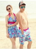 ชุดว่ายน้ำทรงชุดแซก สีฟ้า-ชมพู ลายดอกไม้ (ชุดแซก+กางเกงขาสั้น)