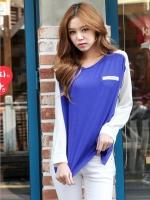 [รหัส BB75251] เสื้อผ้าแฟชั่นพร้อมส่ง เสื้อแขนยาวแฟชั่น ผ้า cotton สีน้ำเงิน + ผ้าชีฟองสีขาว แบบสวม แต่งกระเป๋าหลอกที่อกซ้าย