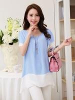 [รหัส BB8629] เสื้อผ้าแฟชั่นพร้อมส่ง เสื้อแฟชั่น ผ้าชีฟอง แบบสวม สีฟ้า