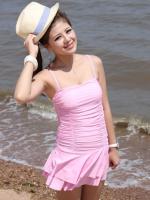 ชุดว่ายน้ำวันพีช สีชมพู พลาสเทลสวย กระโปรงระบายน่ารัก