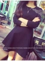 [รหัส LB6186] เสื้อผ้าแฟชั่นพร้อมส่ง เดรสแฟชั่น ผ้า Cotton + Spandax มีซิปซ่อนด้านหลัง แบบสวม สีดำ ไซด์ L
