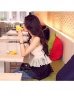 [รหัส W76656] เสื้อผ้าแฟชั่นพร้อมส่ง เดรสแฟชั่น ผ้า ชีฟอง แต่งด้วยผ้าลูกไม้ มีซับใน แบบสวม สินค้าจริง สีขาว - ดำ
