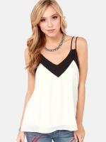 [รหัส W8323] เสื้อผ้าแฟชั่นพร้อมส่ง เสื้อสายเดี่ยวแฟชั่น ผ้าชีฟอง มีซับใน แบบสวม สีขาวตัดดำ