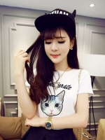 [รหัส W9013] เสื้อผ้าแฟชั่นพร้อมส่ง เสื้อ Cotton ปักลายแมว แบบสวมสีขาว (ไม่รวมกระโปรง)