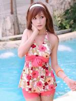 ชุดว่ายน้ำทูพีช คล้องคอ ลายดอกไม้ สีสวยสด