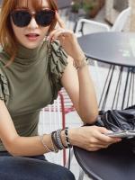 [รหัส G42474] เสื้อผ้าแฟชั่นพร้อมส่ง เสื้อแฟชั่น ผ้า Cotton แบบสวม สีเขียว