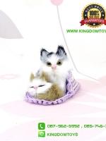 ตุ๊กตาแมวเหมือนจริงในรองเท้าแตะสีม่วง 10 CM