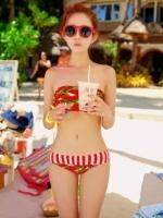 ชุดว่ายน้ำบิกินี่ทูพีช ลายแตงโมน่ารักๆ