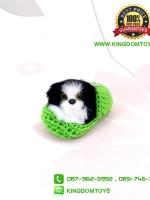 ตุ๊กตาหมาเหมือนจริงในรองเท้าไหมพรม สีเขียว 10 CM