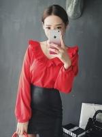 [รหัส R8520] เสื้อผ้าแฟชั่นพร้อมส่ง เสื้อแขนยาวแฟชั่น ผ้า Chiffon pearl แบบสวม สีแดง