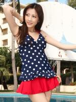 ชุดว่ายน้ำเซ็ต 3 ชิ้น เสื้อสีน้ำเงินแต้มจุดขาว กระโปรงระบายสีแดงสวย (เสื้อ+บิกินี่+กระโปรง)