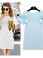 [รหัส BB8304] เสื้อผ้าแฟชั่นพร้อมส่ง เดรสแฟชั่น ผ้าฝ้ายเกาหลี ไม่มีซับใน แบบสวม สีฟ้า