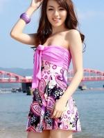 ชุดว่ายน้ำทรงชุดแซก สีชมพูอมม่วง สายคล้องคอ กางเกงแยกชิ้น ลายโบฮีเมียนสวยๆ