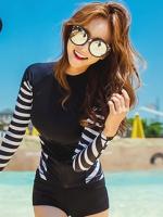 ชุดว่ายน้ำแขนยาว สีดำ ด้านข้างแต่งลายเส้นสลับสีขาวดำ กางเกงขาสั้นสีดำ