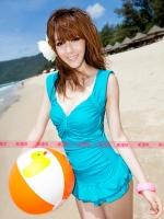 ชุดว่ายน้ำวันพีช สีฟ้าน้ำทะเล แขนกุด อกจับจีบโบว์สวย แต่งระบายน่ารักสไตล์เกาหลี