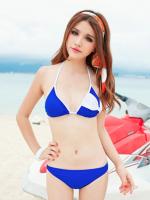 ชุดว่ายน้ำบิกินี่ทูพีชสีน้ำเงินแต่งลายโบว์สีขาวสวยที่บราและด้านหลังกางเกงบิกินี่