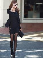 [รหัส B3155] เสื้อผ้าแฟชั่นพร้อมส่ง เดรสแฟชั่นแขนยาว ผ้า ตัดต่อหนัง แบบสวม สีดำ