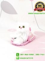 ตุ๊กตาแมวเหมือนจริงในรองเท้าแตะสีชมพู 10 CM