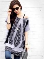 [รหัส G76865] เสื้อผ้าแฟชั่นพร้อมส่ง เสื้อตัวยาวแฟชั่น ผ้า Ice cotton แบบสวม พื้นเสื้อสีเทาแต่งลายกราฟฟิกสีดำ