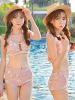 -- สีชมพูอ่อน -- ชุดว่ายน้ำเอวสูง ลายดอกไม้สวยๆ