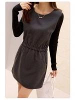 [รหัส GR8182] เสื้อผ้าแฟชั่นพร้อมส่ง เดรสแฟชั่น ผ้า Cloth Cotton ตัดต่อแขนเสื้อด้วยผ้า Rib Cotton สีดำ เอวยางยืด + กระเป๋าหน้า +ซิปหลัง แบบสวม สีเทา (ไม่รวมสร้อย )