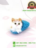 ตุ๊กตาแมวเหมือนจริงในรองเท้าไหมพรม สีฟ้า 10 CM