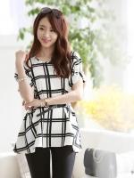 [รหัส B9019] เสื้อผ้าแฟชั่นพร้อมส่ง เสื้อแฟชั่น ผ้า Sunlight linen สีขาวตัดดำ (ไม่รวมเข็มขัด)