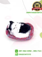 ตุ๊กตาแมวเหมือนจริงนอนหลับ สีขาวดำ 10x12 CM