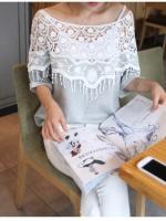 [รหัส W1253] เสื้อผ้าแฟชั่นพร้อมส่ง เสื้อแฟชั่นผ้า Cotton + ลูกไม้ แบบสวม สีขาว (สินค้าจริงสีขาวทั้งตัว)