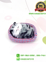 ตุ๊กตาแมวเหมือนจริงนอนหลับ สีเทาดำ 10x12 CM