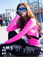 [พร้อมส่ง]ชุดว่ายน้ำแขนยาว+กางเกงขายาว+บิกินี่ เซ็ต 3 ชิ้น เสื้อสีชมพูสด สกรีนลาย