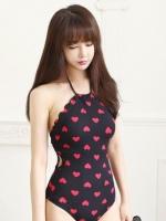 --หัวใจสีแดง-- ชุดว่ายน้ำวันพีช ลายหัวใจน่ารัก ด้านหลังสายผูก