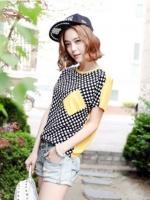 [รหัส Y77631] เสื้อผ้าแฟชั่นพร้อมส่ง เสื้อแฟชั่น ผ้าชีฟองลายจุด ตัดต่อผ้า cotton สีเหลือง มีกระเป๋าที่อกซ้าย