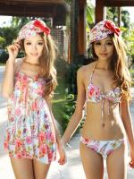 ชุดว่ายน้ำบิกินี่ทูพีช ลายดอกไม้ชมพูฟ้า ขายพร้อมชุดแซกคลุมสวยๆ