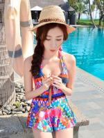 ชุดว่ายน้ำวันพีช เว้าหลังลึก colorful สีสันสดใส