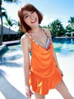 ชุดว่ายน้ำเซ็ต 3 ชิ้น สีส้มสดใส แต่งลายเส้นสวยสุดๆ (บรา+บิกินี่+ชุดแซก)