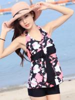 ชุดว่ายน้ำ Tankini สายคล้องคอ ลายดอกไม้สีชมพูสวยๆ
