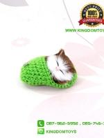 ตุ๊กตาแมวเหมือนจริงนอนหลับในรองเท้าไหมพรม สีเขียว 10 CM
