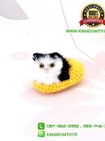 ตุ๊กตาแมวเหมือนจริงในรองเท้าไหมพรม สีเหลือง 10 CM
